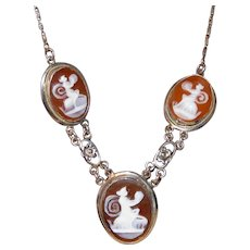 Antique Edwardian Mythical Muses, Nymphs on 3 Carved Shell Cameos White GF  Necklace