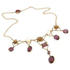Superb Antique Gold Filled Edwardian Amethyst & Large River Pearl Bib Front Necklace