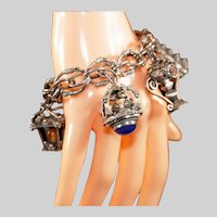 Antique Etruscan Five (5) Charm Chunky Bracelet, Gemstones, Marked 800 Silver, Excellent Condition