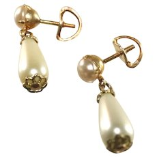 Antique Pierced Drop Earrings, Faux Pearl with Screw On Posts