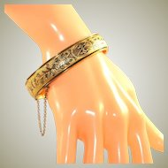 Antique Hayward 10k Gold Filled Taille D'Epargne Enameling Hinged Bangle with Safety Chain