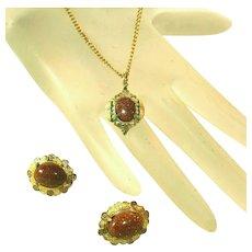 Antique Goldstone Pendant, Earrings Set