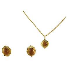 Antique Goldstone Pendant & Chain, Earrings Set