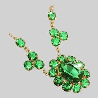 Antique Art Deco Emerald Green & Large Center Open Back Stones Small Bib or Drop Necklace
