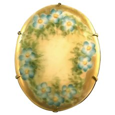 Antique Porcelain Hand Painted Blue & Gold Floral Pin
