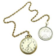 Antique Working Illinois Pocket Watch Fancy Case Gold Filled or Rolled Gold, Silver c.1885 Coin Fob