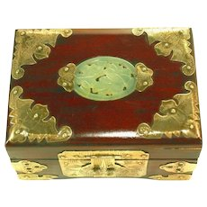 Antique Small Ornate Brass Hinged Ebonized Jewelry Box, Pierced Carved Jade Insert