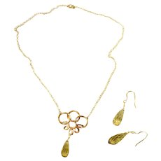 Antique Gold Filled Briolette Cut Lemon Quartz Pendant Necklace & Pendant Earrings