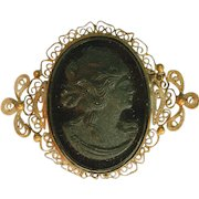 "Antique Large Black Glass Antique Cameo Filigree Pin, Over (2"") Two Inches Long"