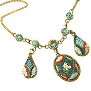Antique Micro Mosaic Fringed Drop Necklace, Signed MADE ITALY