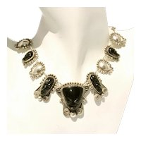 Antique Mexican Sterling Silver & Carved Jet Signed Intricate Necklace