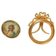 Antique French Empire Miniature Portrait Bronze Frame, Dore Bow, Bonus Hand Painted Portrait in Frame