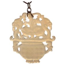 "Antique White Jade Large 2"" Pendant Translucent Mutton Fat Asian Wedding Basket with Dragons"