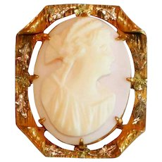 Pink Shell Antique Gold Filled Carved Cameo, Fancy Frame with Rolled Corners