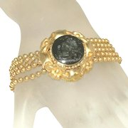 Antique Intaglio Warrior Goddess Athena Cameo Pinchbeck Beaded Chain Victorian Czech Bracelet