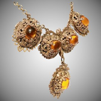 Antique Raised Pinchbeck Filigree & Amber Glass Cabochons Fancy Drop Necklace