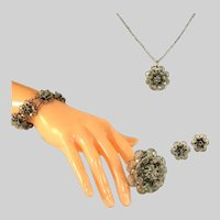 Antique Sterling Silver Wire Worked Jewelry Parure or Set, Necklace, Bracelet, Earrings, Pin