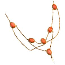 Art Nouveau Antique Coral Glass Cabochons Swagged Necklace, c.1900