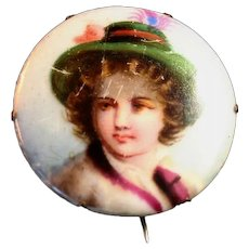 Antique Hand Painted Vagabond Boy Pin, Brooch