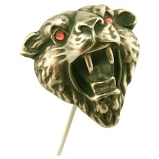 "Antique 800 Silver Victorian Figural Saber Tooth Tiger 6 ½"" Long Hat Pin"