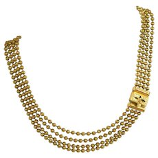 Victorian Antique Gold Plated Brass Beaded Chain Four Strand Necklace