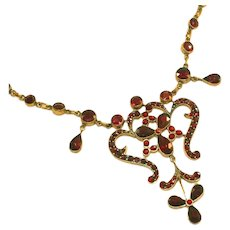 Antique Victorian Bohemian Garnet Necklace, Rose Cut Stones in Scrolling Garland Style Design, Safety Chain