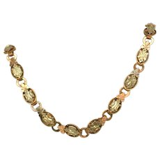 "Fancy Antique 19 ½"" Inch Late Victorian Bookchain Necklace, Rose, Yellow & White Gold Filled or Plated"