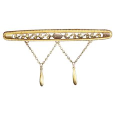 "Antique Victorian Gold Filled or Low Carat Gold Long Cut Work Filigree 2 ½"" Bar Pin, Drops"