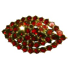 Antique Victorian Bohemian Flat Cut Garnet Pin, Brooch, c.1850