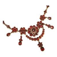 Antique Victorian Rose Cut Bohemian Garnet Museum Quality Bib Necklace, Wearable Length, c.1850