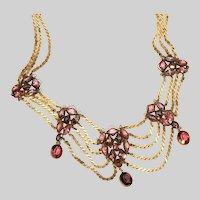 Antique Victorian Amethyst Purple & Pink Paste Stones Festoon Necklace