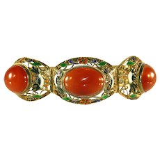 Antique Chinese Vermeil Enameled Birds in Filigree Cut Work & Large Carnelian Cabochons Bracelet