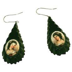 Antique Whitby Jet Portrait Pendant Drop Victorian Earrings for Pierced Ears