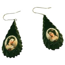 Antique Whitby Jet Portrait Pendant Drop Victorian Earrings for Pierced Ears
