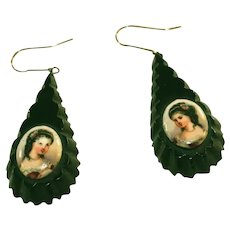 Antique Whitby Jet Portrait Pendant Earrings for Pierced Ears