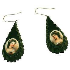 Antique Whitby Jet Portrait Pendant Earrings for Pierced Ears