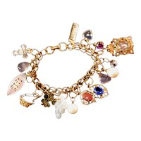 Coro Vintage Reconstructed Charm Bracelet with Antique Charms & Drops