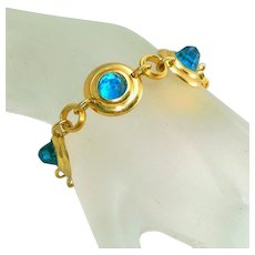 Art Deco High Domed Faceted Bezel Set Aqua Stones Vintage Link Bracelet