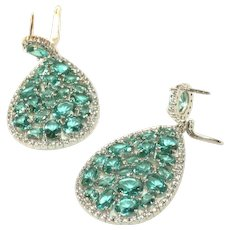 Sterling Silver Large Aqua Blue Glass Open Back & Diamante Stones Vintage Pierced Earrings