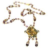Art Nouveau Woman Amethyst Glass & Brass c.1910 Antique Necklace