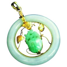 Large Carved Jade & 14k Gold Vintage Donut Circle Pendant Signed 585, Asian Motif