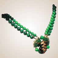 Attrib Early Miriam Haskell Faux Malachite & Faux Jade Unsigned Choker Necklace