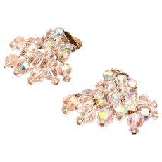 Austrian Crystal Glass Faceted Beads in Vintage Cha Cha Clip Earrings