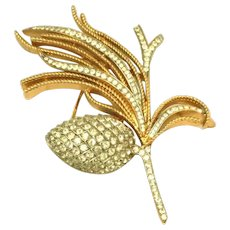 "Alfred Phillipe Crown Trifari c.1955 Pave Set Rhinestones ""Egret Cone"" Spray Iconic Pin, Brooch"