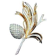 "Alfred Phillipe Crown Trifari c.1955 Pave Set Rhinestones ""Egret Cone"" Spray Iconic Pin, Brooch"