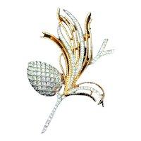 "Alfred Phillipe attrib Vintage Crown Trifari c.1955 Pave Set Rhinestones ""Egret Cone"" Spray Iconic Pin, Brooch"