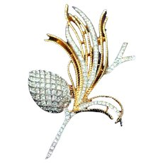 "Alfred Phillipe attrib Vintage Crown Trifari c.1955 Pave Set Rhinestones ""Egret Cone"" Spray Iconic Pin, Brooch"