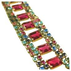 "Colorful Bijoux M.G. Czech Rhinestone Vintage 1 ½"" Wide Rhinestone Bracelet"