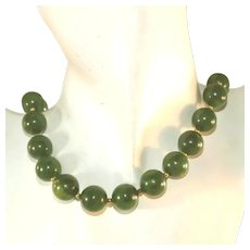 Bakelite Chunky Vintage Large Bead Spinach Green Necklace, Choker