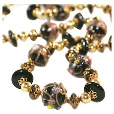 "Striking Vintage Black & Gold Wedding Cake Beads 33"" Long Necklace"